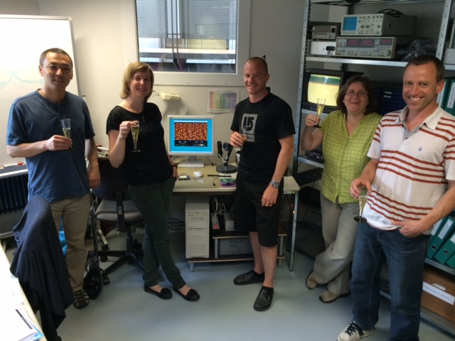 celebrating AFM probe prototype testing at NanoWorld