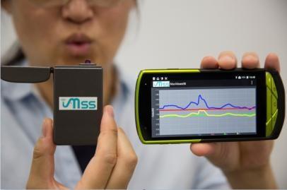 呼気の成分を検知し健康状態をモニタリング するモバイル機器応用のイメージ